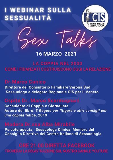 """WEBINAR SULLA SESSUALITA': """"SEX TALKS"""" – LA COPPIA NEL 2000: COME I FIDANZATI COSTRUISCONO OGGI LA RELAZIONE"""